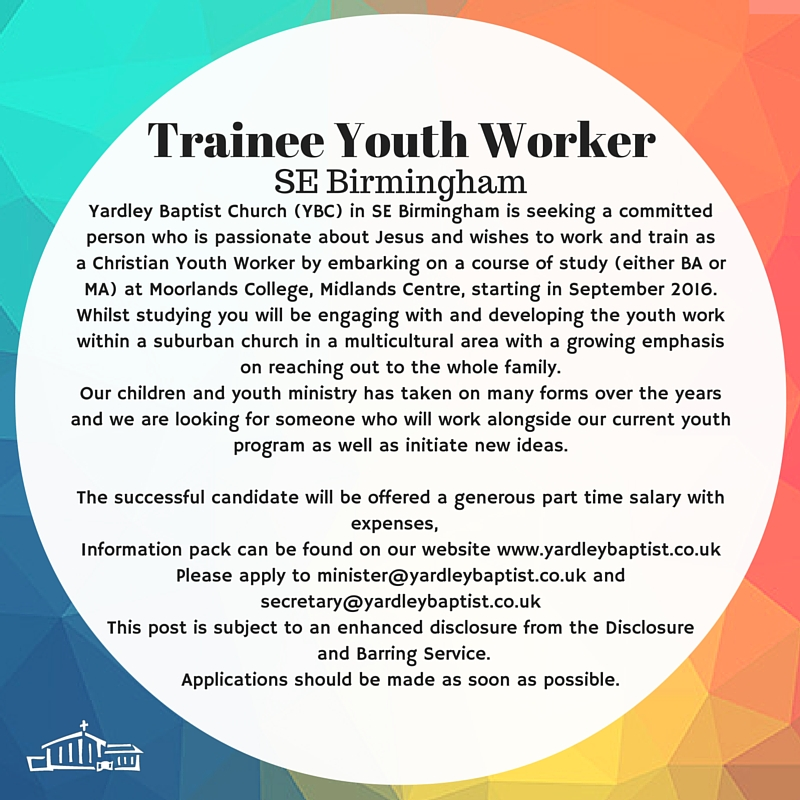Youth work Job Ad Aug 2016